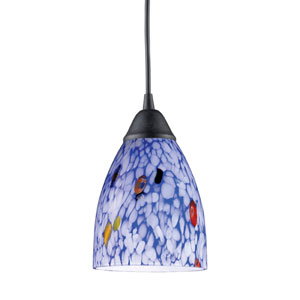 Classico One Light LED Pendant In Dark Rust And Starlight Blue Glass