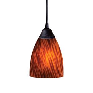 Classico One Light LED Pendant In Dark Rust And Espresso Glass