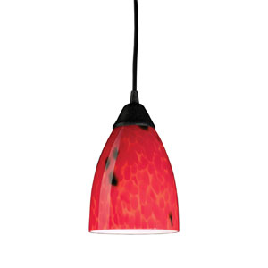 Classico One Light LED Pendant In Dark Rust And Fire Red Glass