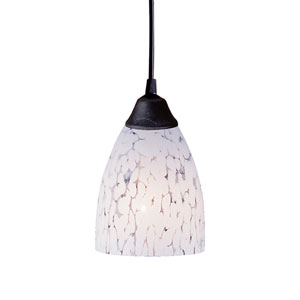 Classico One Light LED Pendant In Dark Rust And Show White Glass
