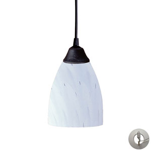 Classico One Light Pendant In Dark Rust And Simply White Glass Includes w/ An Adapter Kit