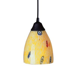 Classico Dark Rust Mini Pendant with Yellow Blaze Glass
