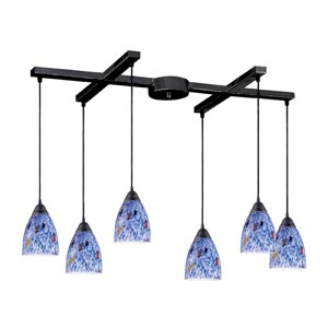 Classico Dark Rust Six-Light Mini Pendant with Starlight Blue Glass