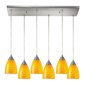 Arco Baleno Satin Nickel Six-Light Pendant with Yellow Shades