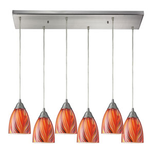 Arco Baleno Satin Nickel Six-Light Pendant with Red Art Glass
