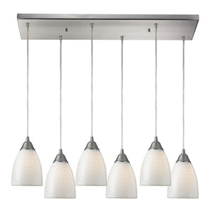 Arco Baleno Satin Nickel Six-Light Pendant with White Shades