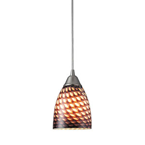 Arco Baleno Satin Nickel Mini Pendant with Coco Glass