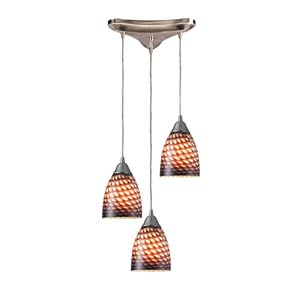 Arco Baleno Satin Nickel Three-Light Mini Pendant with Coco Glass