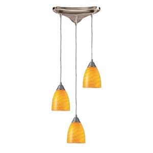 Arco Baleno Satin Nickel Three-Light Mini Pendant with Canary Glass