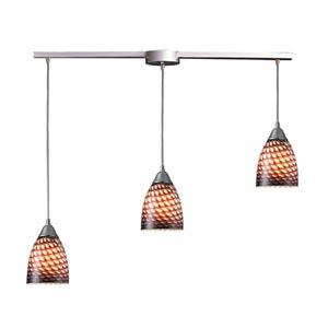 Arco Baleno Satin Nickel Three-Light Mini Pendant with Coco Glass