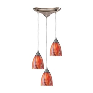 Arco Baleno Satin Nickel Three-Light Mini Pendant with Multi Glass