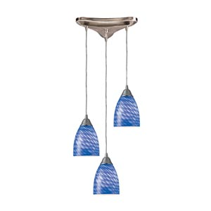Arco Baleno Satin Nickel Three-Light Mini Pendant with Sapphire Glass