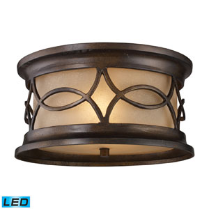 Burlington Gate Two Light LED Outdoor Flush Mount In Hazelnut Bronze
