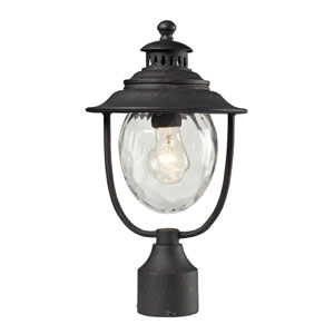 Searsport One Light Post Mount In Weathered Charcoal