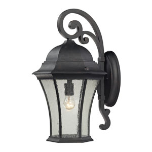 Wellington Park One Light Outdoor Wall Mount In Weathered Charcoal