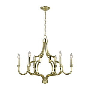 Livonia Polished Gold Six-Light Chandelier