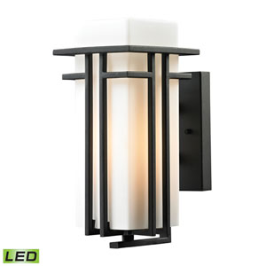 Croftwell Matte Black 12-Inch LED One Light Outdoor Wall Sconce