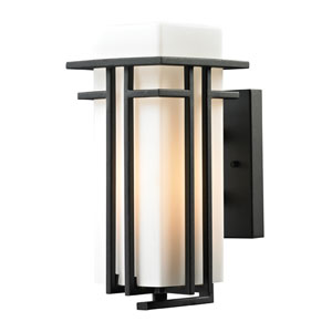 Croftwell Matte Black 12-Inch One Light Outdoor Wall Sconce