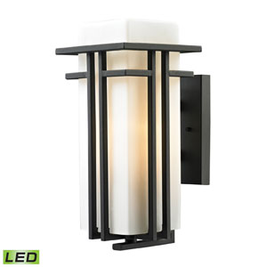 Croftwell Matte Black 15-Inch LED One Light Outdoor Wall Sconce