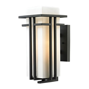 Croftwell Matte Black 15-Inch One Light Outdoor Wall Sconce