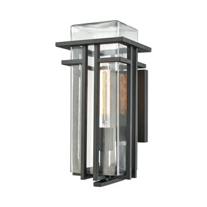 Croftwell Textured Matte Black 7-Inch One-Light Outdoor Wall Lantern