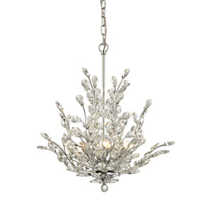 Crystique Polished Chrome 20-Inch Six-Light Chandelier