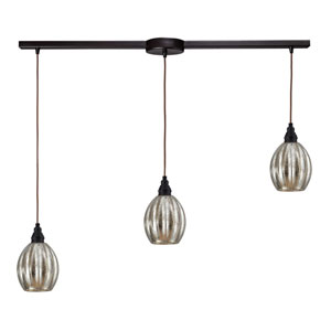 Danica Oiled Bronze Three-Light Linear Pendant
