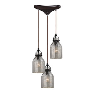 Danica Oil Rubbed Bronze 10-Inch Three Light Chandelier