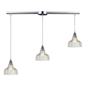 Danica Polished Chrome Three-Light Linear Pendant