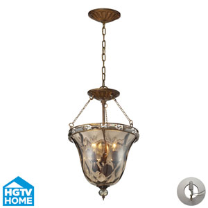 Cheltham Three Light Pendant In Mocha Includes An Adapter Kit to easily convert a  Recessed Light To A Semi Flush