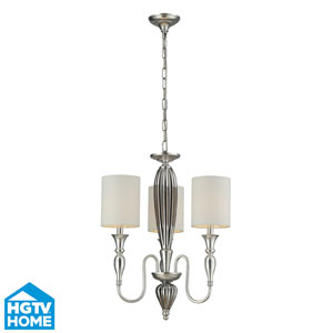 Martique Chrome And Silver Leaf Three Light Chandelier