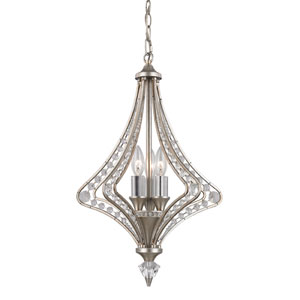 Ventoux Satin Silver Three Light Chandelier