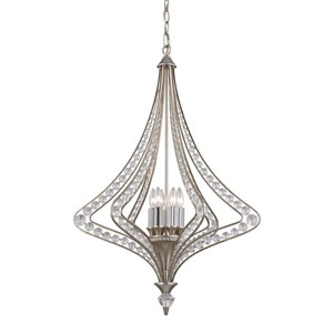 Ventoux Satin Silver Six Light Chandelier