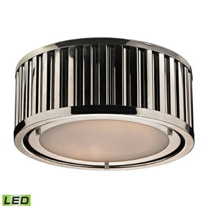 Linden Polished Nickel LED Two Light Flush Mount Fixture