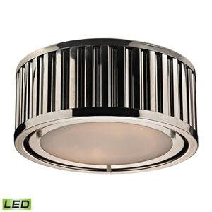 Linden Polished Nickel LED Two Light Flush Mount Fixture