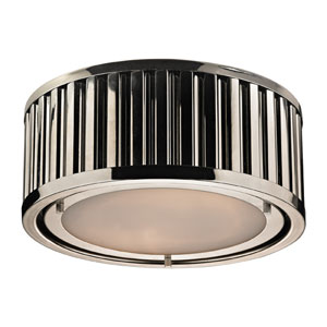 Linden Polished Nickel 5-Inch Two Light Flush Mount Fixture