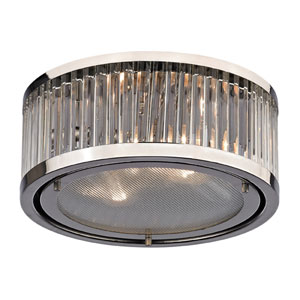 Linden Polished Nickel Two Light Flush Mount Fixture