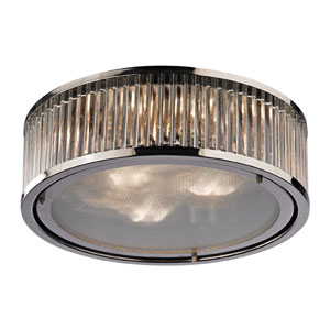 Linden Polished Nickel Three Light Flush Mount Fixture
