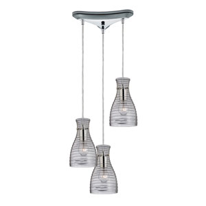 Strata Polished Chrome 10-Inch Three Light Chandelier