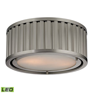 Linden Brushed Nickel LED Two Light Flush Mount Fixture