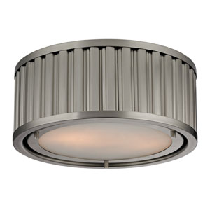 Linden Brushed Nickel 5-Inch Two Light Flush Mount Fixture