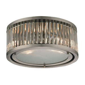 Linden Brushed Nickel Two Light Flush Mount Fixture