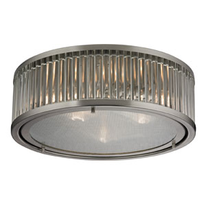 Linden Brushed Nickel Three Light Flush Mount Fixture