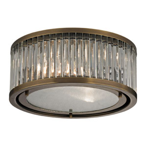 Linden Aged Brass Two Light Flush Mount Fixture
