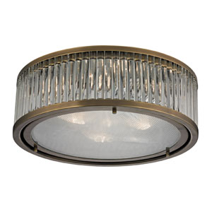 Linden Aged Brass Three Light Flush Mount Fixture