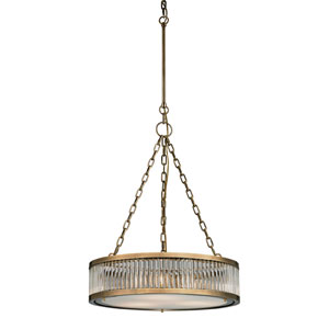 Linden Aged Brass Three Light Pendant