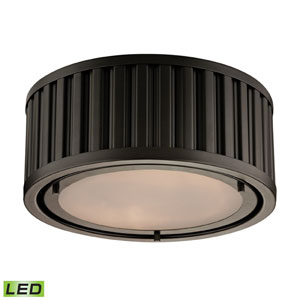 Linden Oil Rubbed Bronze LED Two Light Flush Mount Fixture