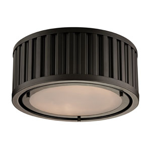 Linden Oil Rubbed Bronze 5-Inch Two Light Flush Mount Fixture