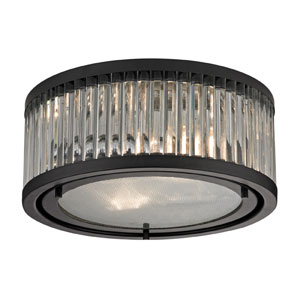Linden Oil Rubbed Bronze Two Light Flush Mount Fixture