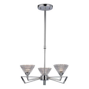 Frenzy Polished Chrome Three Light Chandelier